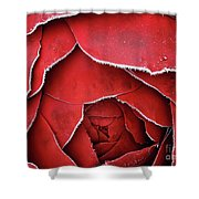 Red Frosty Metal Rose Shower Curtain