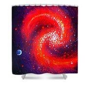 Red Galaxy Shower Curtain