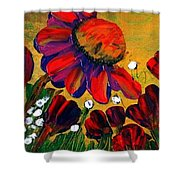 Red Garden Shower Curtain