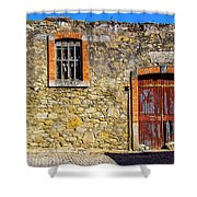 Red Gate, Stone Wall Shower Curtain