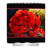 Red Geranium Anniversary Greeting Shower Curtain