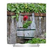 Red Geranium  Shower Curtain
