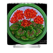Red Geranium On Wood Shower Curtain