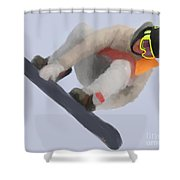 Red Gerard Snowboarding Gold Shower Curtain