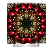 Red Gold Green Kaleidoscope 1 Shower Curtain