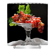 Red Grapes On Glass Dish Shower Curtain
