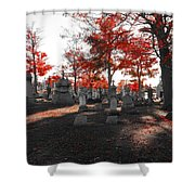 Red Fall Graveyard Shower Curtain