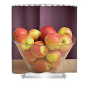 Red Green Apples In A Glass Bowl Shower Curtain
