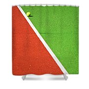 Red Green White Line And Tennis Ball Shower Curtain