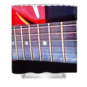 Red Guitar Neck Shower Curtain