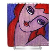 Red Hair Girl Shower Curtain