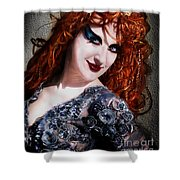 Red Hair, Gothic Mood. Model Sofia Metal Queen Shower Curtain