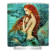 Red Hair Mermaid Mother And Child Shower Curtain