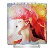 Red Hair With Bubbles Shower Curtain