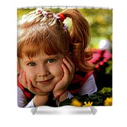 Red Haired Girl Shower Curtain