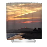 Red Half Dome Of Sun And Zig Zag Clouds And Surf Shower Curtain