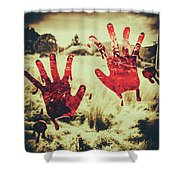 Red Handprints On Glass Of Windows Shower Curtain