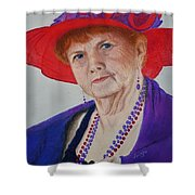 Red-hat Lady Shower Curtain