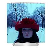 Red Hat On A Blue Day Shower Curtain