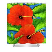 Red Hawaii Hibiscus Flower #267 Shower Curtain