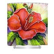 Red Hawaii Hibiscus Flower #301 Shower Curtain