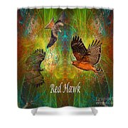 Red Hawk Moon Shower Curtain