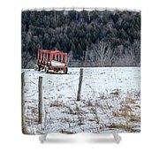 Red Hay Wagon Shower Curtain
