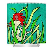 Red Head Mermaid Shower Curtain