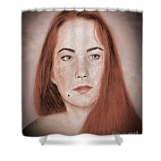 Red Headed Beauty Vdersion II Shower Curtain