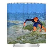 Red Headed Surfer Shower Curtain