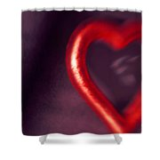 Red Heart Mirror Shower Curtain