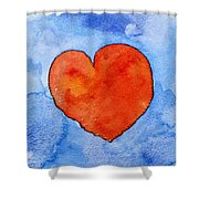 Red Heart On Blue Shower Curtain