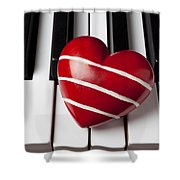 Red Heart With Stripes Shower Curtain