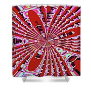Red Heavy Screen Abstract Shower Curtain