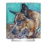 Red Heeler Australian Cattle Dog Shower Curtain by Lee Ann Shepard