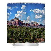 Red Hills And Green Tress Shower Curtain