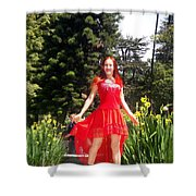 Red Hot - Ameynra Fashion By Sofia Metal Queen. Shower Curtain