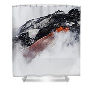 Red Hot Lava And Steam Shower Curtain