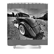 Red Hot Rod In Black And White Shower Curtain