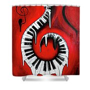 Red Hot - Swirling Piano Keys - Music In Motion Shower Curtain