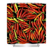 Red Hots Shower Curtain by Christian Slanec