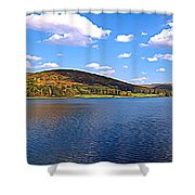 Red House Lake Allegany State Park Expressionistic Effect Shower Curtain