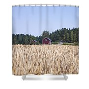 Red House Wheat Field Shower Curtain