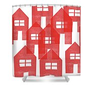 Red Houses- Art By Linda Woods Shower Curtain