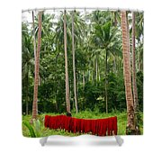 Red In The Jungle Shower Curtain