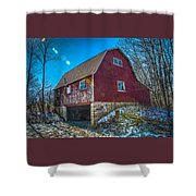 Red Indiana Barn Shower Curtain