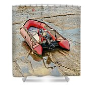 Red Inflatable Boat With Motor In Musselburgh Haven. Shower Curtain