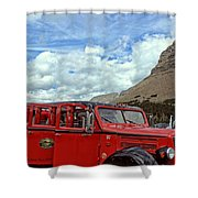 Red Jammer At Logan Pass Shower Curtain