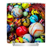 Red Jar Spilling Marbles Shower Curtain