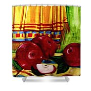 Red Juicy Apples Shower Curtain